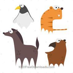 Free Vectors: Cute Animals Vector Set 9   Animals