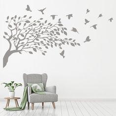 Bird On Branch, Flower Branch, Bird Tree, Kitchen Wall Stickers, Nursery Wall Stickers, Baby Badger, Tree Borders, Bamboo Tree, Flower Nursery