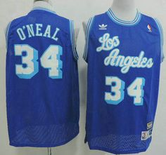 bd170ab6bbb ... Los Angeles Lakers Jersey 34 Shaquille ONeal Blue Throwback Swingman  Jerseys .