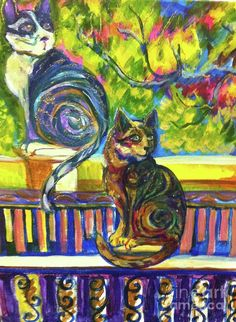 Two Cats On A Fence Too by Heather Whitney