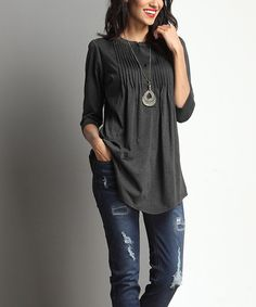 Loving this Charcoal Notch Neck Tunic on #zulily! #zulilyfinds