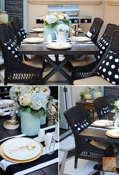 Black and white accents (like table runners, napkins, pillows, and a graphic pattern on the patio!) give this outdoor space a bold but fun feel! | From the Patio Style Challenge and Brittany of brittanymakes!