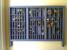 jewelry display made from a vintage printer drawer by lmartin12, $85.00