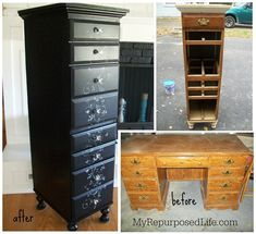 Up-Cycle Furniture Round-Up From My Repurposed Life - repurposed-desk-lingerie-chest
