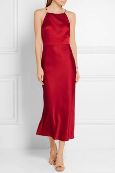 Claret crepe de chine Concealed hook and zip fastening at back 70% acetate, 30% viscose Designer color: Ruby Red Dry clean