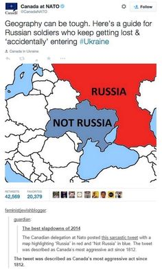 "Geography can be though. Here is a guide for Russian soldiers who keep getting lost and ""accidentally"" entering #Ukraine"