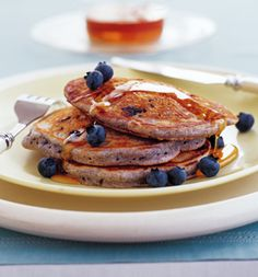 blue-cornmeal pancakes! i have a weakness for blueberry pancakes...