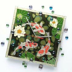«Japanese Koi Wall Clock #simplemagicthings #glasspainting #handpainted #wallclock #clock #koi #fish…»