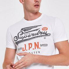 33730f16 Superdry white vintage crew neck T-shirt