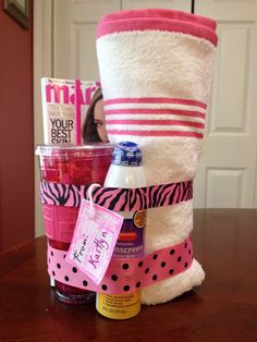 Teacher Appreciation Gift Idea craft Summer Fun Kit: Towel, Sunscreen, insulated plastic cup and a magazine. Links to Tutorial. It costs between $20-25 depending on what you have on hand. Easy and quick to make.