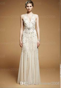 Chiffon Wedding Dress 2014 New Wedding Dress Sexy Halter Tulle Backless Beads Princess Sheath Prom Pageant Gown Jenny Packham Royal Jbp 24 Informal Wedding Dresses From Forever2008, $171.95| Dhgate.Com