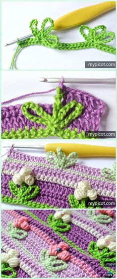 Crochet Flowers Easy Crochet Puff Flower stitch Free Pattern - Crochet Flower Stitch Free Patterns - Crochet Flower Stitch Free Patterns: crochet inline tulip stitch, open work flower stitch, rosebud stitch, and more inline flower pattern Stitch Crochet, Crochet Stitches Free, Bag Crochet, Crochet Motifs, Crochet Crafts, Crochet Lace, Crochet Projects, Free Crochet, Tunisian Crochet