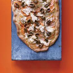 Two-Potato Flatbread with Olives and Feta // More Delicious Potato Recipes: http://www.foodandwine.com/slideshows/potatoes #foodandwine