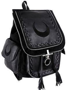 Restyle Black Luna Crescent Moon Occult Witchcraft Backpack Gothic Denim Bag