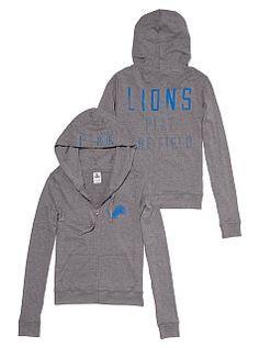 Detroit Lions Womens Full Zip Jacket - Black Lions Brushed Fleece ...