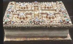 The Lindau Gospel Book Cover. The book was made in 750 – 800 AD near Salzburg. Book cover made in gold, silver, enamel, and decorated with jewels
