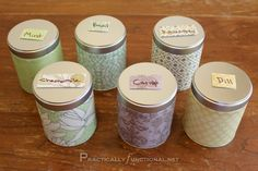 Decorate tins to store herbs from your garden!