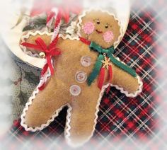 GINGERBREAD Man Christmas Ornament Gingerbread by CharlotteStyle