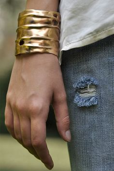 Make a statement with your favorite pair of jeans and this bronze hand cast cuff from Julie Cohn Design #jewelry