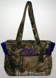 Real Tree AP Purple Fancy Diaper Bag or Tote by smallsproutsbaby, $99.00