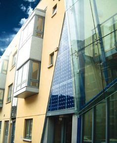 Integrated PV panels into facade.