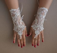 Wedding Gloves, ivory,french lace, gloves,Fingerle von bridal accessories auf DaWanda.com