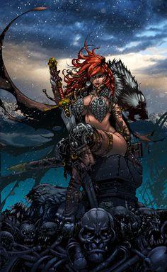 Red Sonja by diabolumberto on DeviantArt Comic Book Characters, Comic Books Art, Fantasy Characters, Female Characters, Comic Art, Comic Pics, Fictional Characters, Red Sonja, Warrior Girl