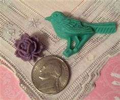 2 Darling Carved Look Buttons 1 Aqua Bird on Branch 1 Pretty Purple Rose
