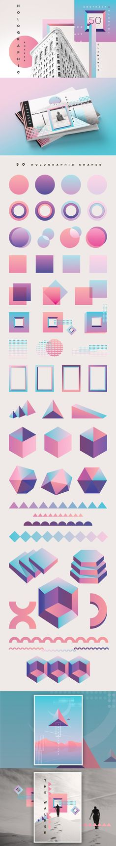 50 Holographic Shapes by Polar Vectors on These colorful geometric shapes can be used in poster concepts, brochure designs, branding and so much more. Layout Design, Graphisches Design, Design Elements, Print Design, Logo Design, Shape Design, Modern Design, Poster Design, Photocollage