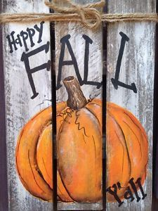 Gardening Autumn - HAPPY FALL YALL Primitive Rustic Pallet PORCH Country Halloween Handmade Decor - With the arrival of rains and falling temperatures autumn is a perfect opportunity to make new plantations Diy Halloween, Palette Halloween, Country Halloween, Pallet Painting, Pallet Art, Pallet Wood, Diy Pallet, Wood Pallets, Pallet Benches