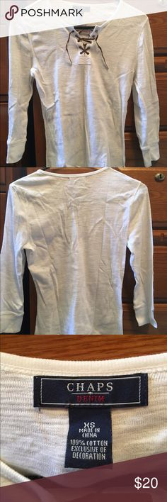 Women's Chaps Long Sleeve Shirt Brand new, never worn, this Chaps Shirt is lightweight and extremely comfortable. With its leather lacing at the top it gives it an adorable beachy look. It can be worn anywhere with anything. Chaps Tops Tees - Long Sleeve