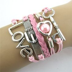 Pink Leather Rope Bracelet Key, Buckle, Heart, Love & Pearl Charms