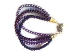 Purple Ombre Pearl Bracelet 5 strand glass by CrystalCreekGem, $24.95