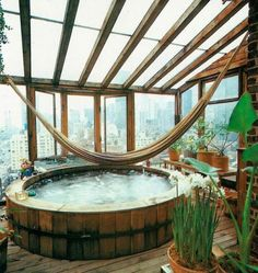 Bohemian HOmes: A Hot tub under the stars. Ditch the hammock and soak in an atrium.