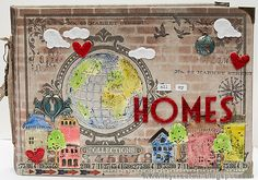 Layers of ink - Home Sweet Home Mini Book by Anna-Karin. Made for the Simon Says Stamp Monday Challenge Blog, with a Tim Holtz Worn Cover as a base, lots of idea-ology pieces and Cityscape and other dies by Tim Holtz and Sizzix. Stamps by Stampers Anonymous Tim Holtz and Ranger inks, paints and media.