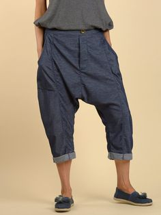 Denim Style Cropped Trousers