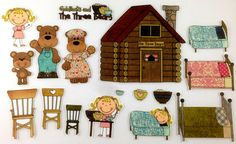 Goldilocks and the Three Bears Felt Board Story Set por byMaree