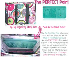 With this pair, you'll have it made in the shade! Add the Made In The Shade Pocket to the Zip-Top Organizing Utility Tote for the PERFECT PAIR!   www.mythirtyone.com/michellesalyers