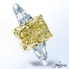 JB Star Natural fancy yellow diamond ring featuring a lovely 1.78 ct radiant fancy yellow diamond embraced by kite diamonds.