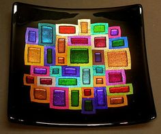 Slumped Fused Dichroic plate in brilliant colors by Jane Tivol