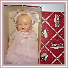1935 Unmarked Baby Bubbles Composition Doll- All Original + Box (item #1280356) $225.00 #dollshopsunited