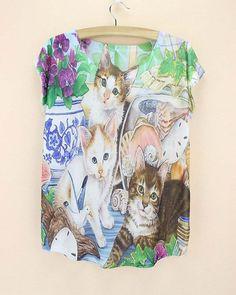 Doodle Cats print Tshirt ladies Novelty pattern t-shirts womens fashion summer dress big size tops tees short sleeved clothing