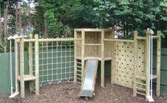 , 68 great little backyard playground landscaping ideas. , 01 great little backyard playground landscaping ideas Kids Outdoor Play, Outdoor Play Spaces, Kids Play Area, Backyard For Kids, Backyard Jungle Gym, Backyard Bar, Garden Climbing Frames, Wooden Climbing Frame, Climbing Wall