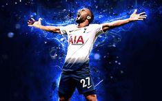 Download wallpapers Lucas Moura, brazilian footballers, Tottenham Hotspur, soccer, Moura, Premier League, neon lights, Tottenham FC