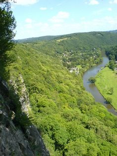 East side of the Ourthe river in Neupré, Ardennes Region of Belgium, Province of Liège. Mountain landscape.