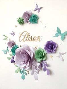 Nursery Paper Flowers - Paper flowers over the crib - Baby Girl Room Paper Flowers - Baby Room Wall Decor Large Paper Flowers, Paper Flower Wall, Paper Flower Backdrop, Giant Paper Flowers, Diy Flowers, Diy Paper, Paper Crafts, Paper Flower Arrangements, Deco Champetre