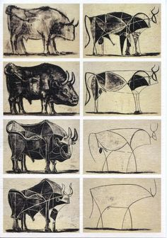 The 'story' here is the move from realism to abstraction. Pablo Picasso Bulls