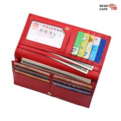 Women RFID Blocking Wallet Genuine Leather Bifold Travel Clutch Zipper Pocket -- Unbelievable  item right here! : Best Travel accessories for women