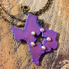 Texas Necklace - Distressed Texas Necklace - Painted Metal Texas Necklace - Rustic Metal Texas Necklace - Swarovski Crystal Texas