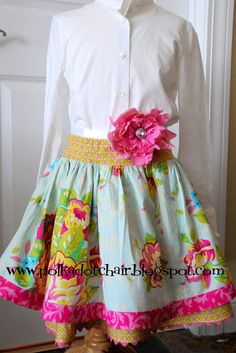 Skirt Tutorial - see also Projects to make for American Girl dolls- for a doll pattern to match this skirt1